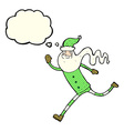 cartoon running santa with thought bubble vector image vector image