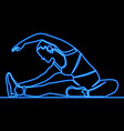 continuous line woman stretching neon concept vector image vector image