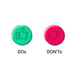 do and dont thumb up down thin line icons vector image vector image