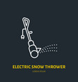 electric snow thrower flat line icon sign vector image vector image