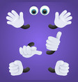 eyes and gloved hands personage vector image vector image