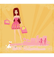 fashion girl on Shopping vector image vector image