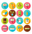 Flat Nature Garden Circle Icons Set with long vector image vector image