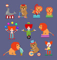 flat set of circus animals and clowns vector image vector image