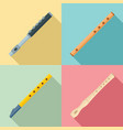 flute icon set flat style vector image vector image