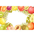 frame with ripe fruits and palm leaves vector image vector image