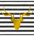 gold deer head on a striped pattern background vector image vector image