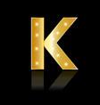 golden letter k shiny symbol vector image vector image
