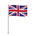 Great Britain flag waving on a metallic pole vector image vector image