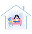 happy woman reading book inside house icon vector image