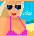 hello summer poster portrait of hot girl vector image vector image