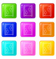 honeycomb on wood icons set 9 color collection vector image vector image