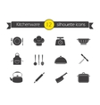 Kitchen tools silhouette icons set vector image