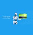 modern robot hold credit card mobile payment vector image vector image