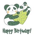 Panda with heart happy birthday card vector image