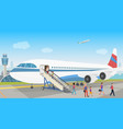 people landing from an airplane in airport vector image vector image