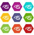 rattlesnake icons set 9 vector image