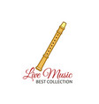 reed pipe or clarinet flute live music icon vector image vector image