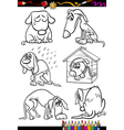 sad dogs group cartoon coloring book vector image vector image