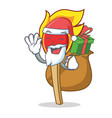 santa with gift match stick mascot cartoon vector image