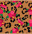 seamless pattern with hibiscus flowers and print vector image