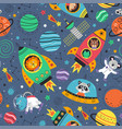 seamless pattern with space animals in rockets vector image vector image