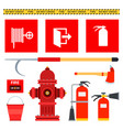set firefighting equipment flat vector image vector image