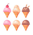 set of colorful ice cream cone flat icons vector image