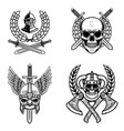 set of emblems with viking ancient weapon design vector image vector image