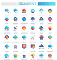 set trendy flat gradient cloud big vector image