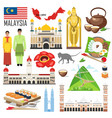 set with architecture national flag costume map vector image