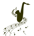Silhouette of a saxophone on a white background vector image vector image