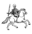 skeleton warrior on horse engraving vector image vector image
