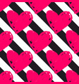 tile pattern with black stripes and pink hearts vector image