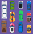 top view different automobiles vehicle set vector image