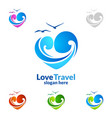 travel and tourism logo with love seaand beach vector image