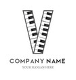 v letter logo design piano keyboard logo vector image vector image