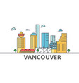 vancouver city skyline buildings streets vector image