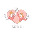 women in heart shaped frame smiling vector image vector image