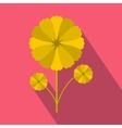 Yellow flower icon in flat style vector image