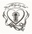 you got the keys to my heart vintage hand drawn vector image vector image
