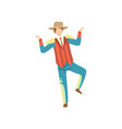 young man in traditional bright costume and cowboy vector image vector image