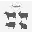 Set of farm animals silhouetts vector image