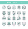 linear monochrome icons easter vector image