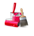 3d wall painter tool brush roller bucket vector image vector image