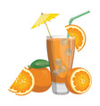 a glass fresh orange juice vitamin refreshing vector image