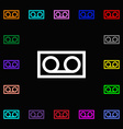 audio cassette icon sign Lots of colorful symbols vector image vector image