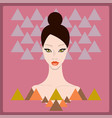 beautiful stylish young woman face on dark pink vector image