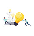 business teamwork of people pulling lightbulb vector image