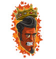 cartoon angry red devil man with golden king crown vector image